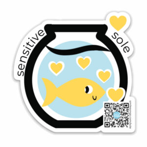 sensitive sole die cut magnet with happy fish and hearts inside fish bowl, typography; qr code on design plays song