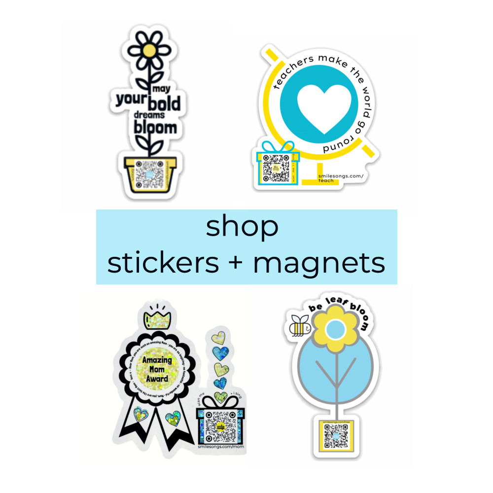 four diecut stickers and fridge magnets that sing with qr code including floral, teacher apprecation gift, mothers day stickers and inspirational bee magnet