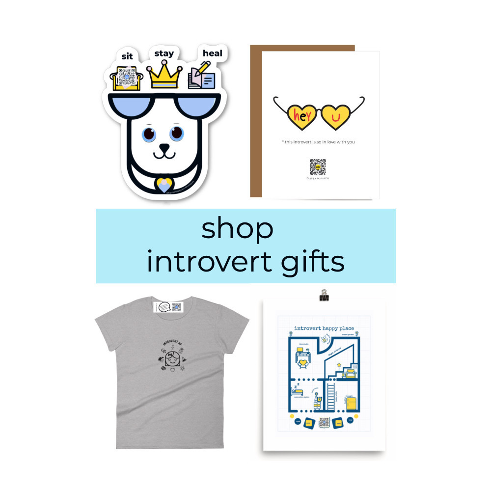 four gifts for introverts diecut healing dog sticker introvert love qr code singing greeting card introvert af t shirt and blueprint inspired introvert happy place tree free paper art print