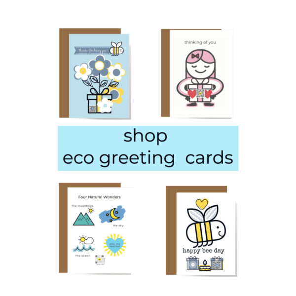 recycled paper qr code singing greeting cards including thank you cards, thinking of you card, teacher appreciation card and bee pun birthday card