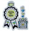 Die-cut sticker of award ribbon and gift box with yellow and blue glitter accents says Amazing Mom Award on ribbon; QR code on gift plauys song