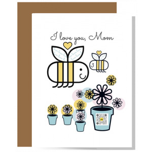 I Love You Mom card with big and little smiling bees with hearts overhead, flowers and one flower pot with qr code that sings to show artwork