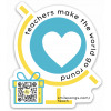 Die-cut sticker with heart inside globe and gift box with QR code that plays song and Teachers Make the World Go Round typography, song web link