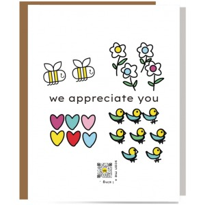 bees, flowers, hearts and birds we appreciate you card with qr code that plays exclusive song