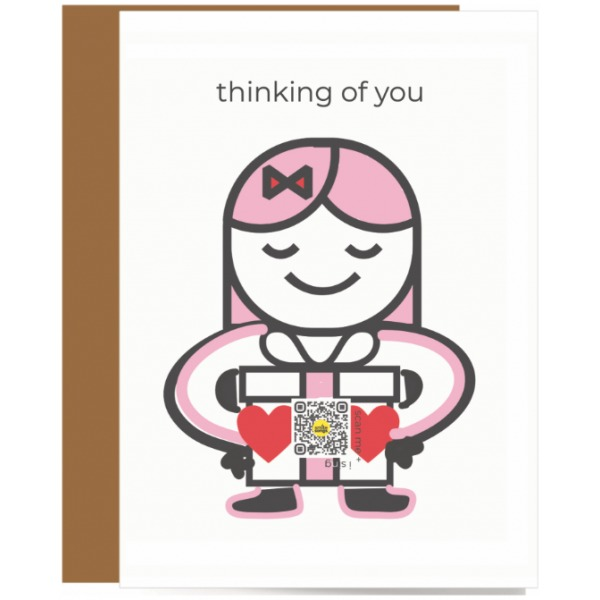 greeting card of pink haired girl offering box with bos with hearts and QR code that sings, Thinking of You typography overhead