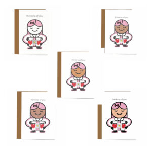 Black, brown and white faces on variations of Thinking of You singing greeting card to show product options