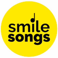 yellow smile songs logo with black type and quarter note above the i