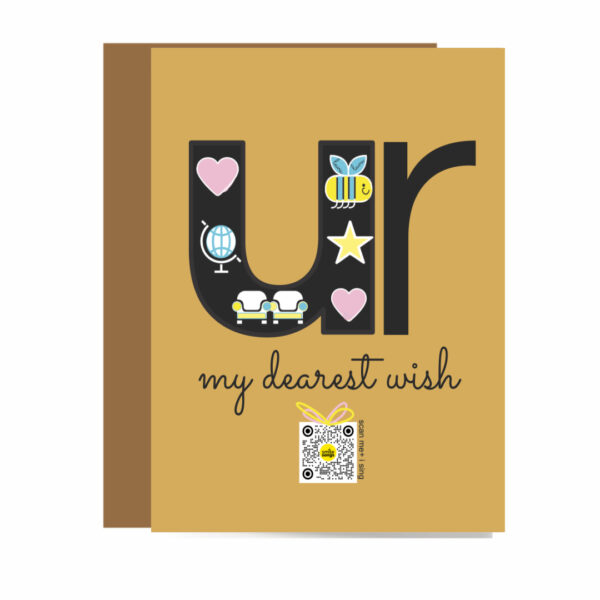 kraft brown greeting card with large letter U with icons of love in it and and R over type my dearest wish and gift box that plays love song for anniversary, just because and love you