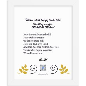 custom written love song lyrics in white frame personalized with bride and groom's names and wedding date to show product details